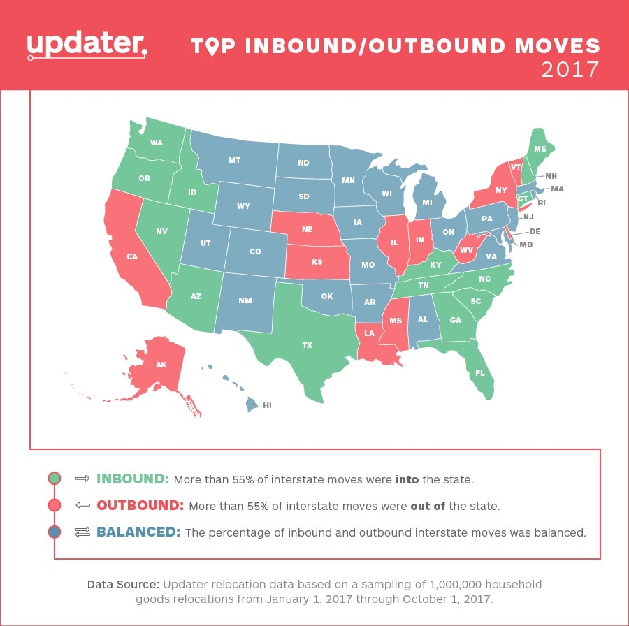 updater migration map 2017 - top states americans are migrating to and from