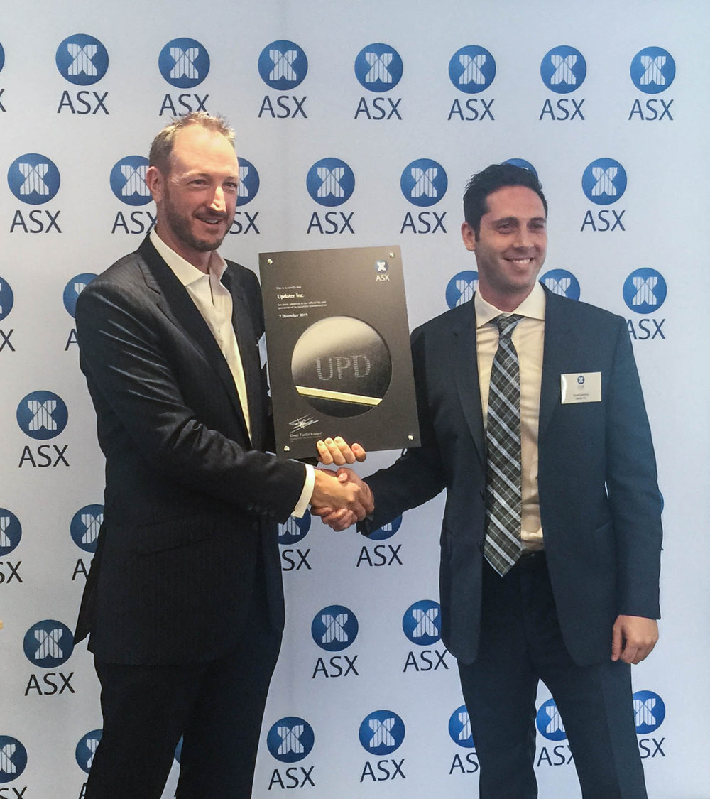 David Greenberg at Updater's ASX listing ceremony, 2015.