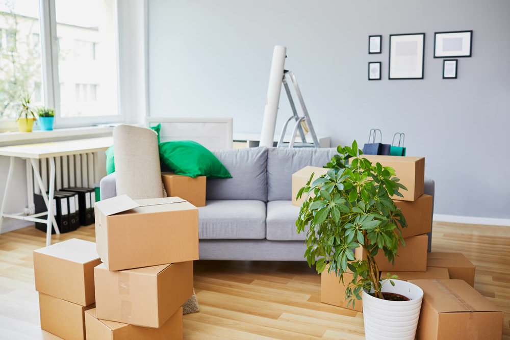 couch and boxes - moving company scams