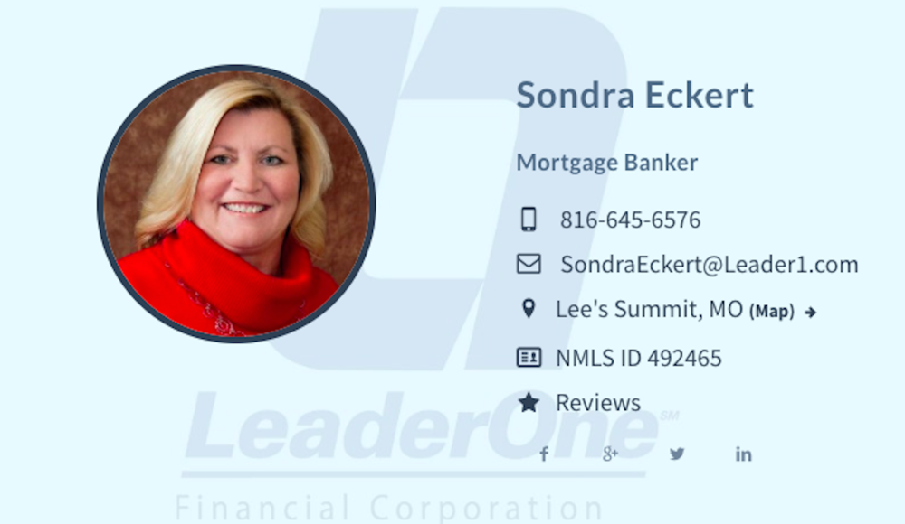 Sondra Eckert  of LeaderOne Financial Corporation