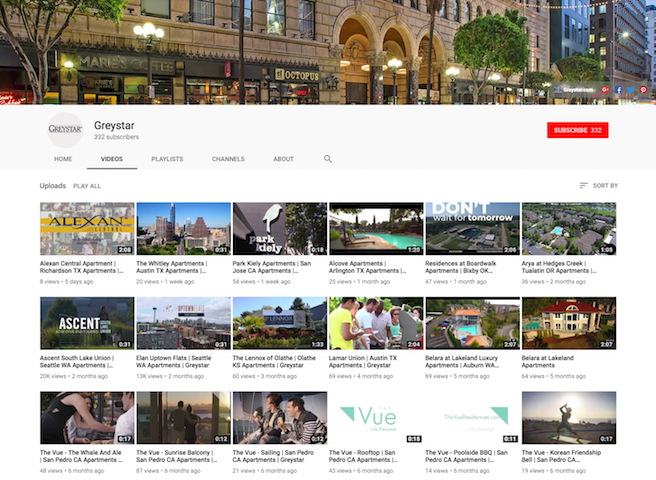 Property management company  Greystar's Youtube channel