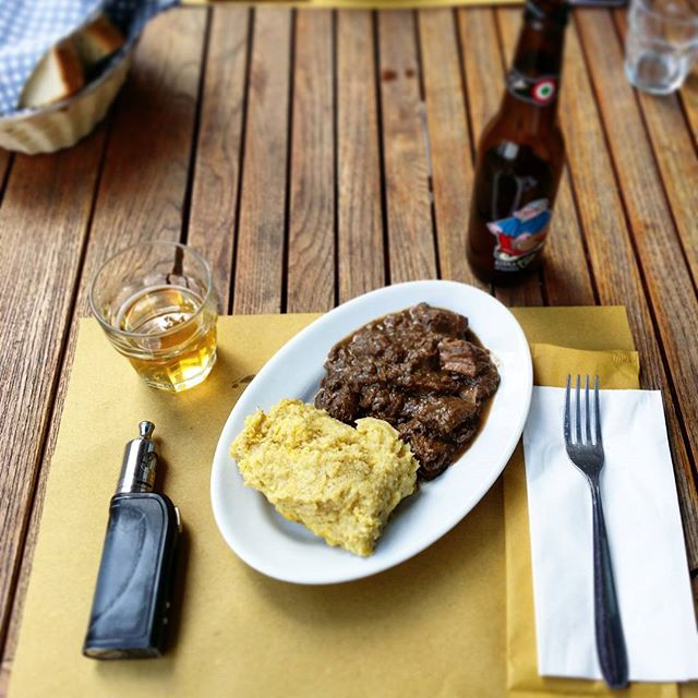 #polenta & #deer #goulash + #tozbeer #beer #friuli #europe #food #vape #italy #italia #europe