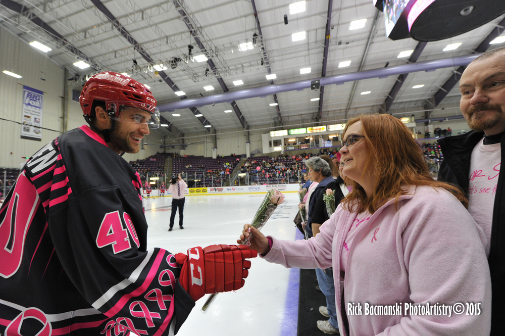 Jackals Forward Taylor Stefishen during the post-game rose ceremony