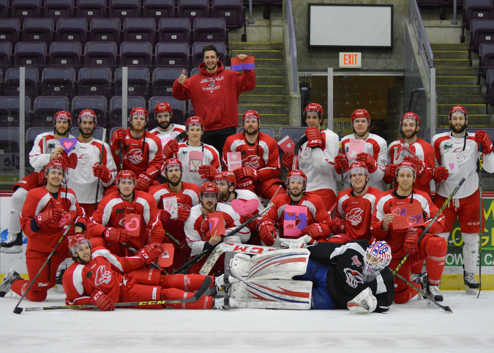 The Elmira Jackals pose with their Valentine's. This photo was autographed and sent to the classrooms who sent Valentine's to the team.