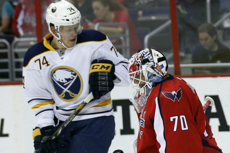 Vaclav Karabacek skating in a preseason game for the Buffalo Sabres.