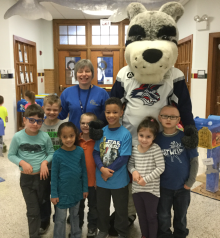 Blade visited with students at Diven Elementary as part of the Catch of the Day program