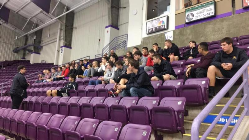 Jackals Head Coach Dave Leger chats with Corning-Painted Post High School students.