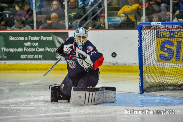Jason Kasdorf, making a save with the Jackals earlier this season, has been reassigned to Elmira from Rochester (AHL)