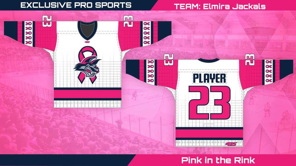 The Jackals will wear these pink jerseys Saturday night.