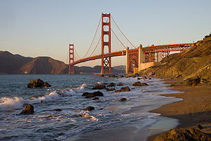 The Golden Gate Bridge in San Francisco as see...