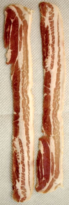 Uncooked streaky bacon.