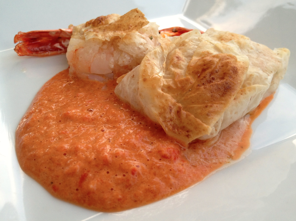 phyllo wrapped shrimp with red pepper coulis