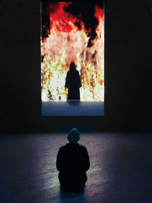 "Ascestion by Taliesin Thomas, of Bill Viola's ""Fire Woman"""