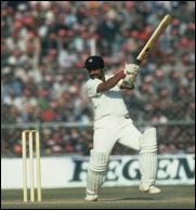 The famous cricketer Gundappa Vishwanath at bat
