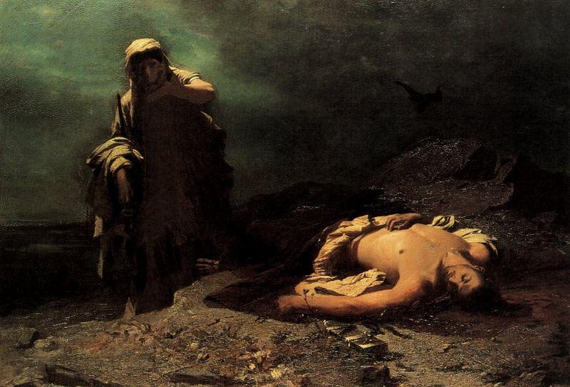 Antigone in front of dead Polynikes
