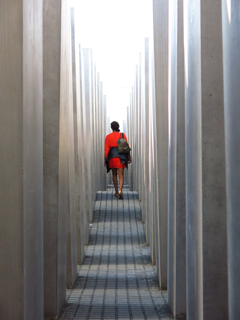 IDSVA student at the Holocaust Memorial. Photo by Gabriel Reed.