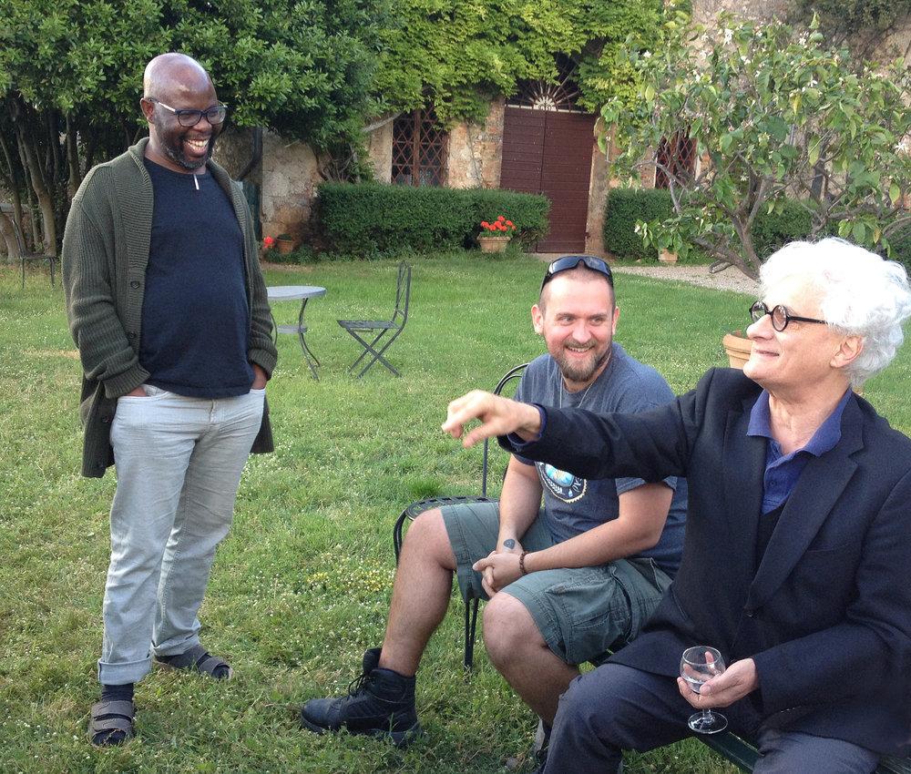 Franco Berardi with IDSVA students at Spannocchia. Photo by Simonetta Moro.