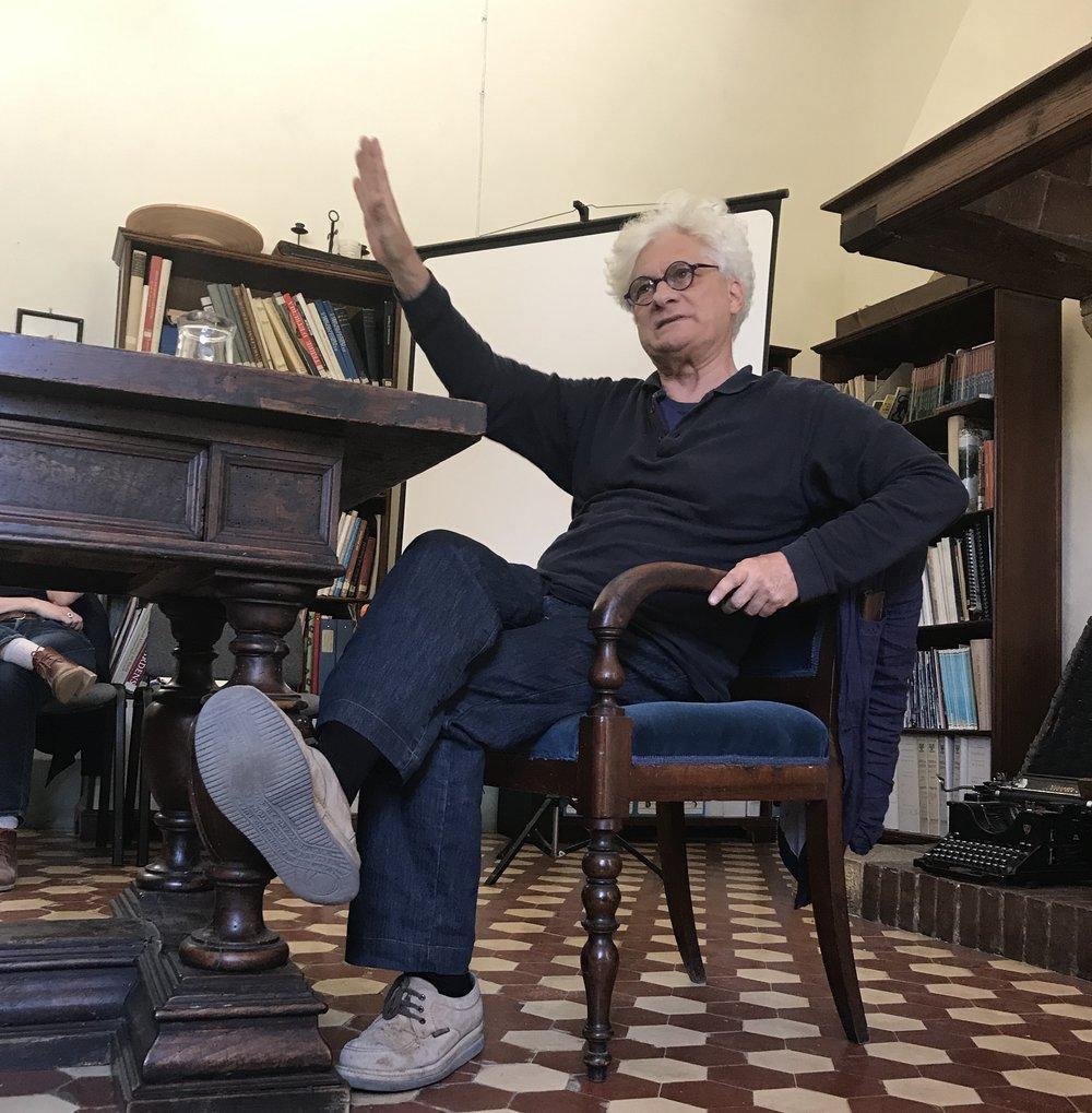 Franco 'Bifo' Berardi lecturing at Spannocchia, 2017  Photo Credit: Natalya Mayrena
