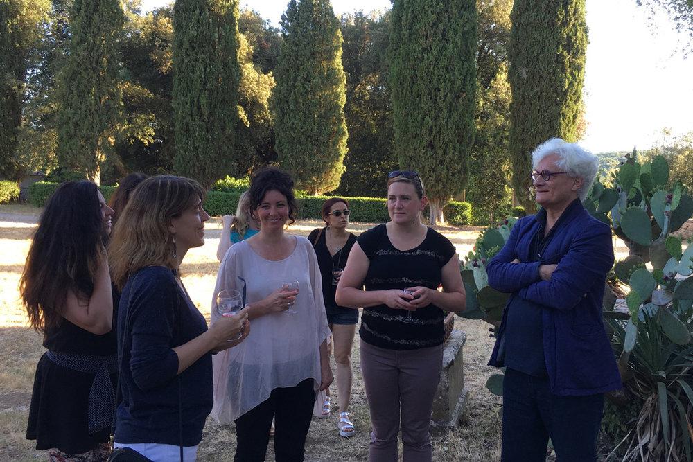 Bifo, Simonetta Moro, and IDSVA students conversing at Spannocchia, 2017  Photo Credit: Molly Davis