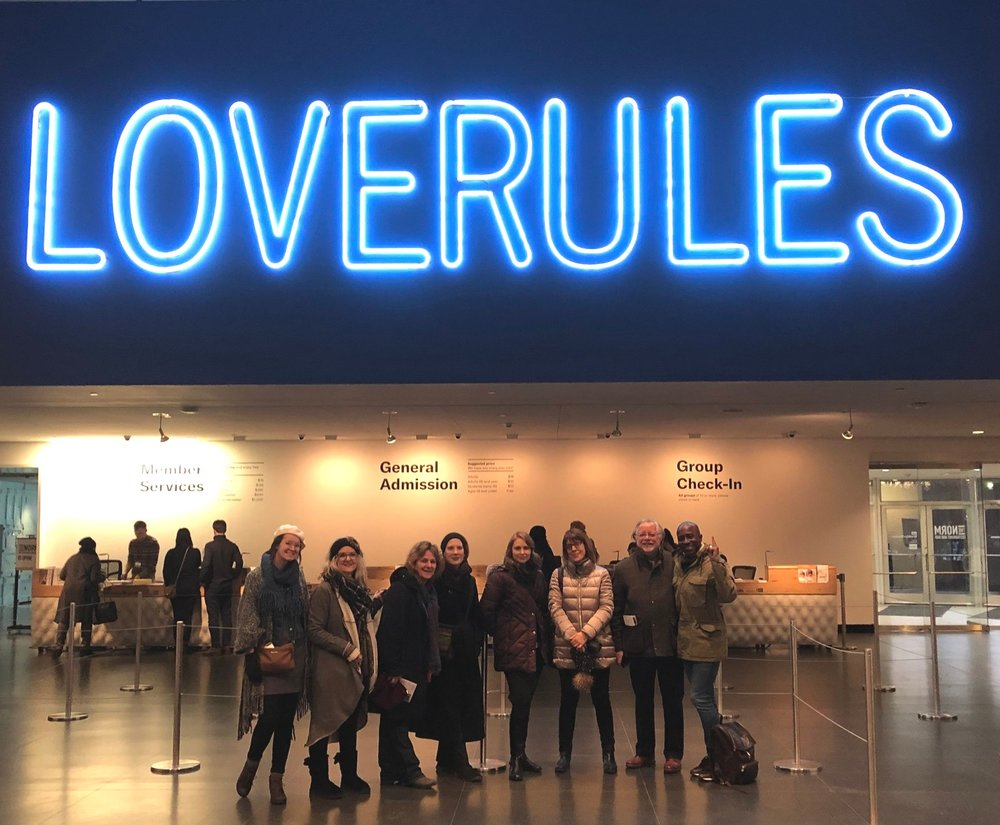 "IDSVA Students in front of Hank Willis Thomas' piece ""LOVE OVER RULES."" Brooklyn Museum, January 2019"
