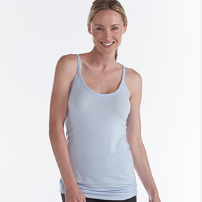 GAIAM PIMA FLOW TANK If you want to cover up a little in your yoga practice, the ruching and keyhole back give a feminine design to a basic tank top.