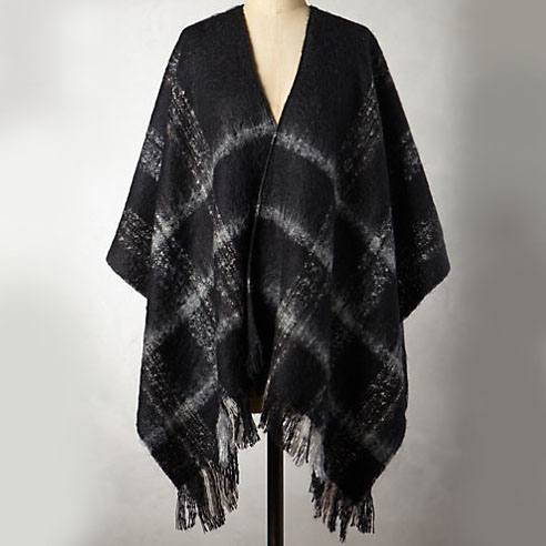 Anthropologie Steeped Plaid Poncho