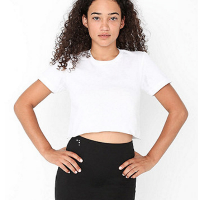 American Apparel Fine Jersey Short Sleeve Cropped T-Shirt