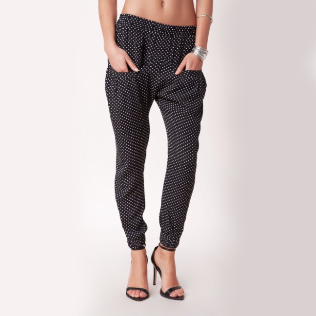Flynn Skye Perfect Printed Pant I love the polka dot detail of these pants, and the tapered leg makes them perfect for heels or boots.
