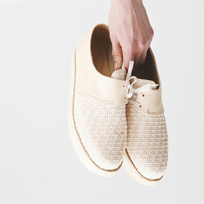 Study NY Carcel Creeper Shoe Sheepskin leather, cross-stitched by female prisoners in Mexico, who are provided living wage compensation for their work.