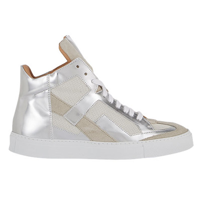 MM6 Metallic Leather & Mesh Sneakers