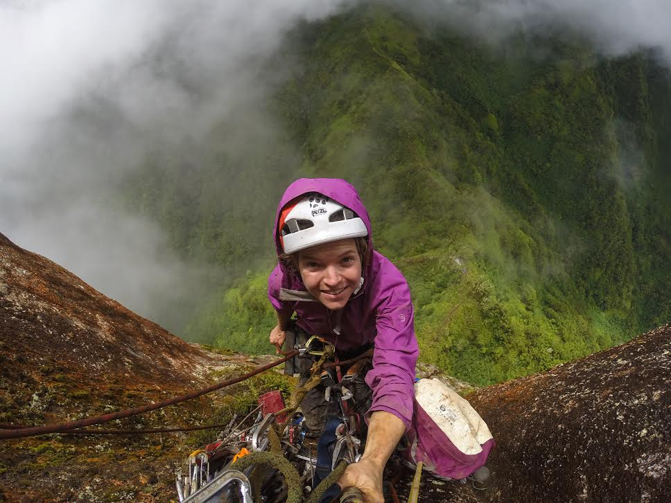 Hanging on the side of a jungle tower called Poumaka on the island of Ua Pou in the Marquesas Islands of French Polynesia, February 2015 -- no photo credit necessary (selfie stick!)
