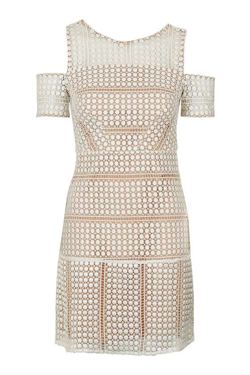 TopShop Circle Lace Cold-Shoulder Dress, $130