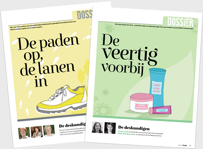 Hiking is the subject of the article on the left, on the right is an article about getting fourty (and older).