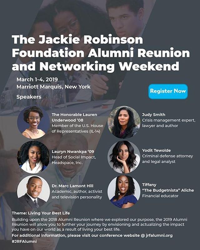So honored! I make it a point to come back to the Mentoring and Leadership Conference each March and this year it's even more special! So exited to be among this incredible group of leaders! @marclamonthill @laurenaunderwood @thebudgetnista @judysmith_ @yodit_tewolde @jrfoundation #legacy #jackierobinsonfoundation #JRF #JRFFAM #mlc2019 #blackgirlmagic #livingyourbestlife #jrfalumni
