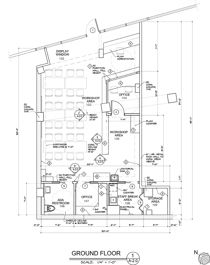 A blueprint of the Training Studio, currently under construction.