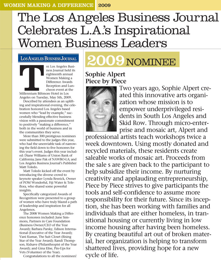 The Los Angeles Business Journal Celebrates L.A's Inspirational Women Business Leaders, May 11, 2009