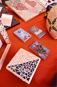 Mosaic artworks created by people in a program called Piece by Piece. The program is a nonprofit that teaches the homeless of Skid Row and South L.A. to create beautiful mosaic artwork. Los Angeles, CA 6/4/2010. photo by John McCoy