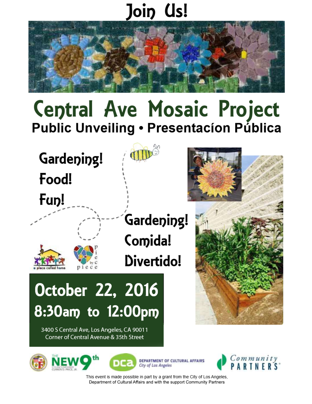 Central Ave Garden Mosaic Project celebration will take place at the Community Garden, located on south side of the Newton Police Station at Central and 35th in South Los Angeles (3400 S Central Ave, Los Angeles, CA 90011)