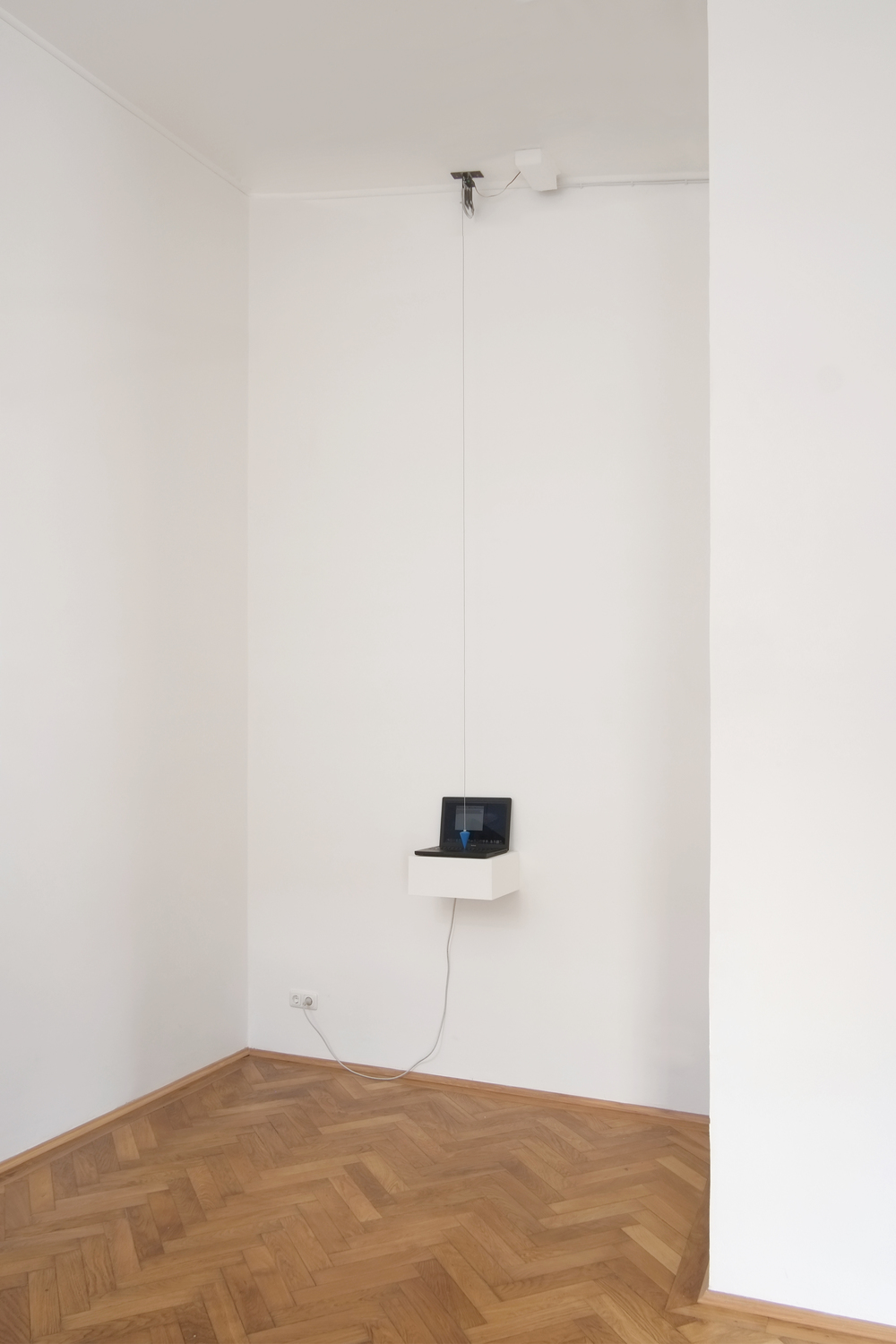 Alex Grein, Laughing Out Loud, 2015, laptop, electric linkage with pendulum, format variable