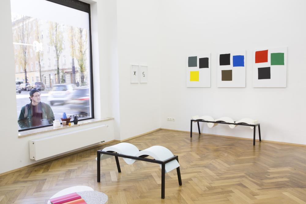 Elvire Bonduelle - waiting room #4 - installation view (Francois Morellet, Nicolas Chardon, Elvire Bonduelle)