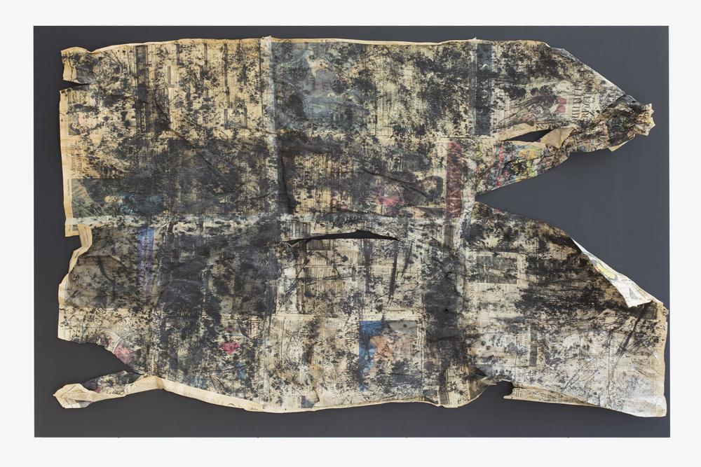 Anna McCarthy - Filthy Rich Earth - 2015 - frottage - newsprint on MDF - 110 x 170 cm