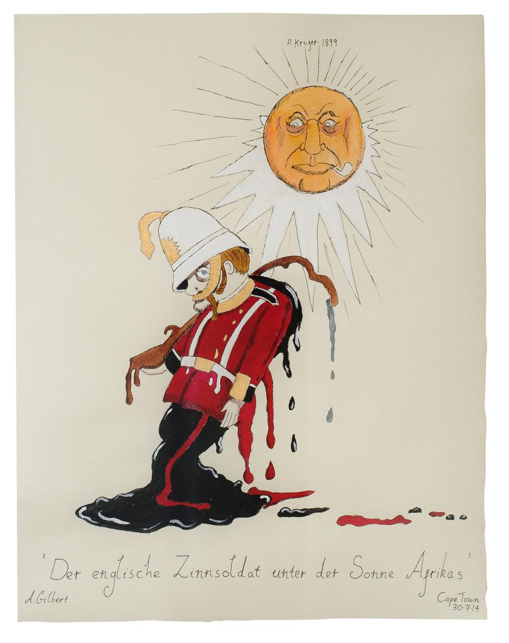Andrew Gilbert, Der Englische Zinnsoldat unter der Sonne Afrikas, 2014, acrylic, watercolor and fineliner on paper, 30 x 21 cm