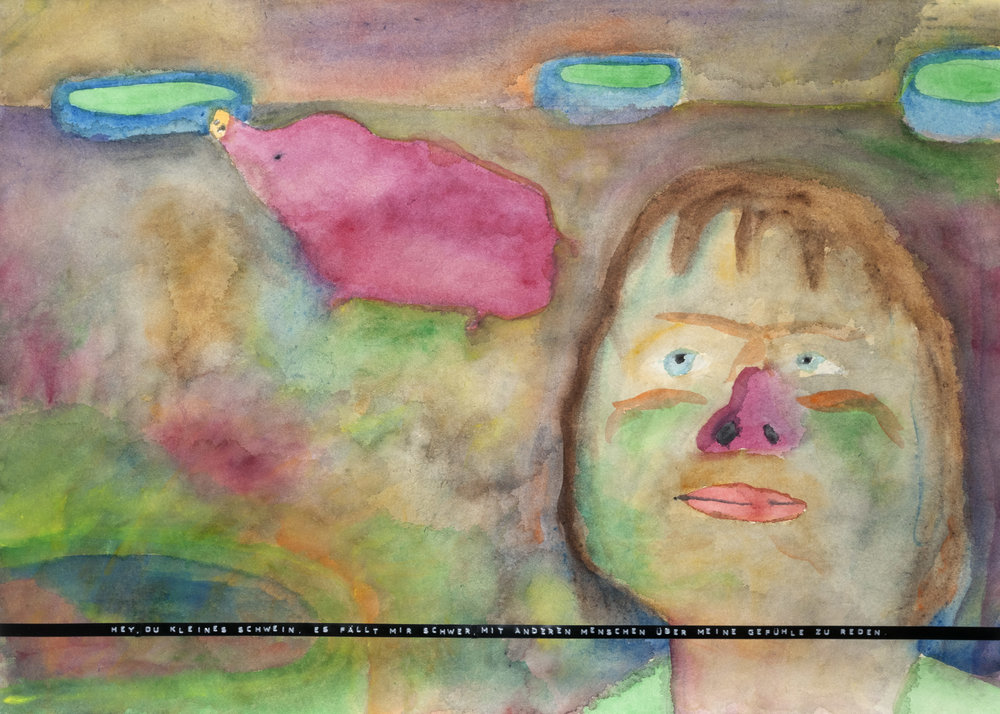 Sebastian Jung, Hey, du kleines Schwein, es fällt mir schwer, mit anderen Menschen über meine Gefühle zu reden., 2016, watercolor, pencil and labelmaker tape on paper, 50 x 70 cm