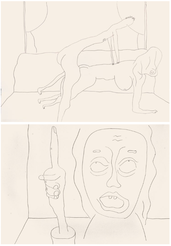 Sebastian Jung, untitled (Chatroulette), 2016, pencil on paper, two parts, 50cm x 70cm each