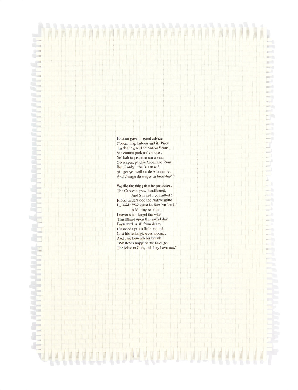 Dan Halter, The Modern Traveller, text from The Modern Traveller by Hillaire Beloc (1898), 2016, hand woven, archival ink-jet print, 29,7 x 21 cm