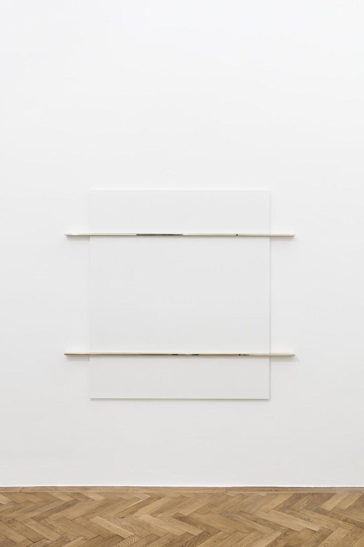 Haris Epaminonda, N.I, 2017, white pastellone, brass, 161,5 x 172 x 5 cm