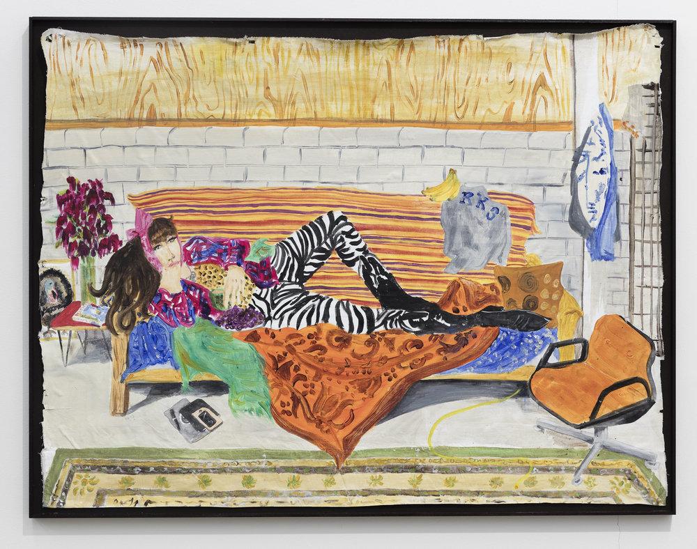 Anna McCarthy, Gabi in Hamtramck Studio, 2017, acrylic on fabric in artists frame, 80 x 104 cm