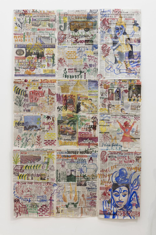 Anna McCarthy, Busride India, 2018, gouache on newspaper, 161 x 99 cm