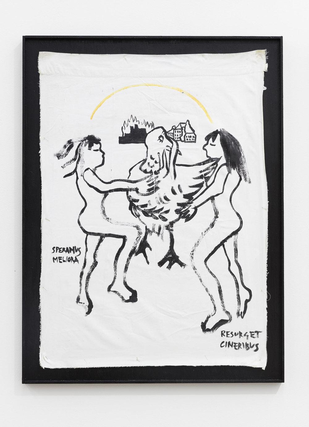 Anna McCarthy, Detroit Flag, 2017, acrylic on fabric in artists frame, 77 x 58 cm
