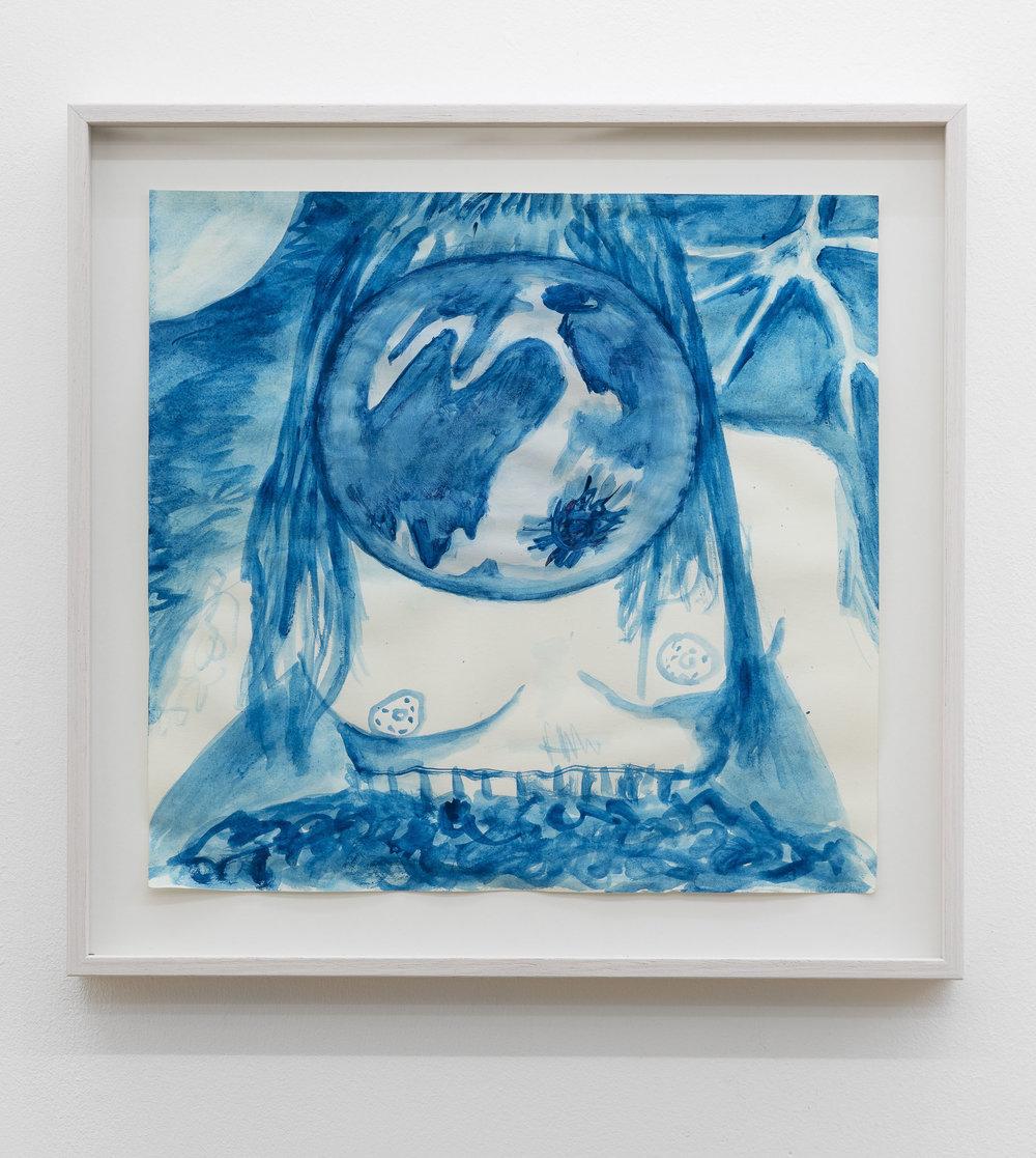 Anna McCarthy, Moon Lightning Girl, 2018, gouache on paper, 28 x 29 cm